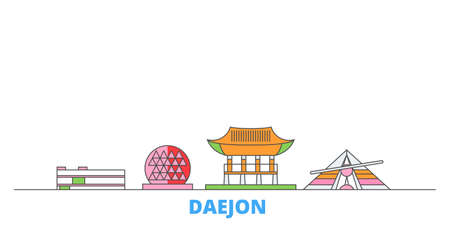 South Korea, Daejon cityscape line vector. Travel flat city landmark, oultine illustration, line world icons