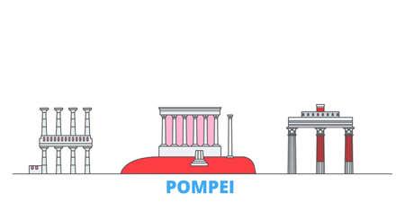 Italy, Pompei cityscape line vector. Travel flat city landmark, oultine illustration, line world icons