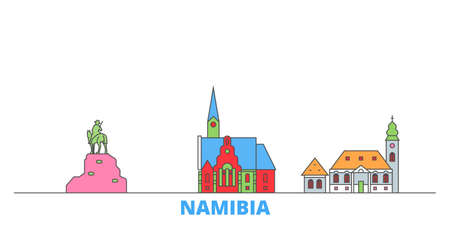 Namibia cityscape line vector. Travel flat city landmark, oultine illustration, line world icons