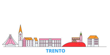 Italy, Trento cityscape line vector. Travel flat city landmark, oultine illustration, line world icons