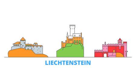Liechtenstein cityscape line vector. Travel flat city landmark, oultine illustration, line world icons 일러스트