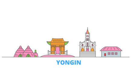 South Korea, Yongin cityscape line vector. Travel flat city landmark, oultine illustration, line world icons