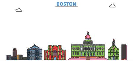 United States, Boston cityscape line vector. Travel flat city landmark, oultine illustration, line world icons Çizim