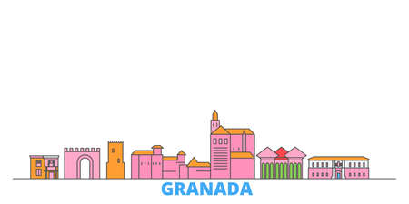 Spain, Granada cityscape line vector. Travel flat city landmark, oultine illustration, line world icons