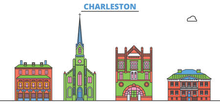 United States, Charleston cityscape line vector. Travel flat city landmark, oultine illustration, line world icons Illusztráció