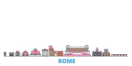 Italy, Rome cityscape line vector. Travel flat city landmark, oultine illustration, line world icons