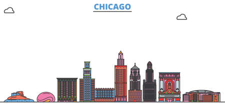 United States, Chicago cityscape line vector. Travel flat city landmark, oultine illustration, line world icons