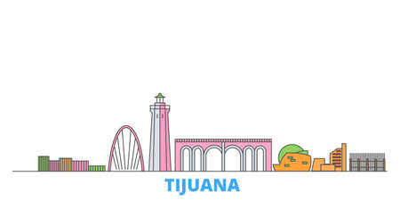 Mexico, Tijuana cityscape line vector. Travel flat city landmark, oultine illustration, line world icons 일러스트