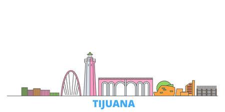 Mexico, Tijuana cityscape line vector. Travel flat city landmark, oultine illustration, line world icons Illustration