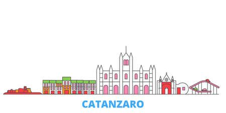 Italy, Catanzaro cityscape line vector. Travel flat city landmark, oultine illustration, line world icons