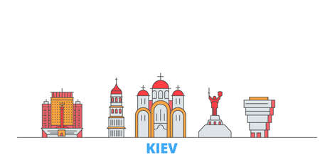 Ukraine, Kiev cityscape line vector. Travel flat city landmark, oultine illustration, line world icons