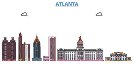 United States, Atlanta cityscape line vector. Travel flat city landmark, oultine illustration, line world icons Çizim