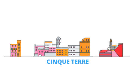 Italy, Cinque Terre cityscape line vector. Travel flat city landmark, oultine illustration, line world icons Ilustrace