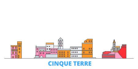Italy, Cinque Terre cityscape line vector. Travel flat city landmark, oultine illustration, line world icons Çizim