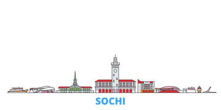 Russia, Sochi cityscape line vector. Travel flat city landmark, oultine illustration, line world icons