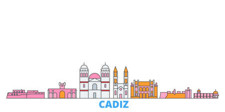 Spain, Cadiz cityscape line vector. Travel flat city landmark, oultine illustration, line world icons
