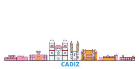 Spain, Cadiz cityscape line vector. Travel flat city landmark, oultine illustration, line world icons
