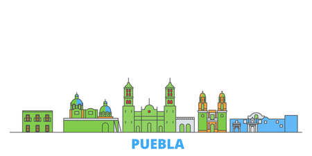 Mexico, Puebla cityscape line vector. Travel flat city landmark, oultine illustration, line world icons 일러스트