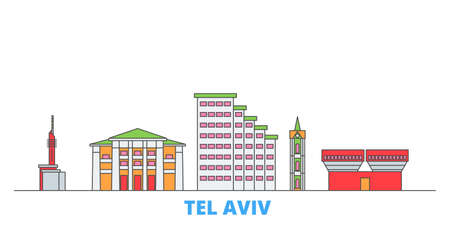 Istael, Tel Aviv cityscape line vector. Travel flat city landmark, oultine illustration, line world icons