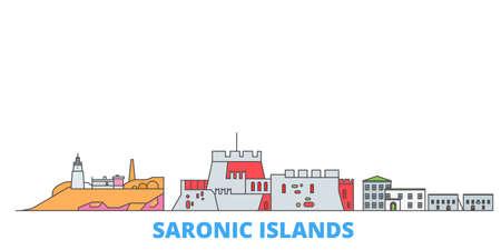 Greece, Saronic Islands cityscape line vector. Travel flat city landmark, oultine illustration, line world icons