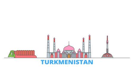 Turkmenistan cityscape line vector. Travel flat city landmark, oultine illustration, line world icons