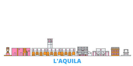 Italy, Laquila cityscape line vector. Travel flat city landmark, oultine illustration, line world icons