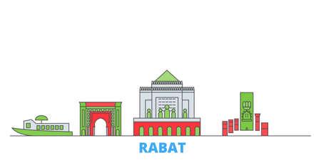 Morocco, Rabat cityscape line vector. Travel flat city landmark, oultine illustration, line world icons
