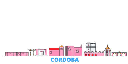 Spain, Cordoba cityscape line vector. Travel flat city landmark, oultine illustration, line world icons 矢量图像