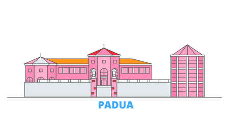 Italy, Padua City cityscape line vector. Travel flat city landmark, oultine illustration, line world icons