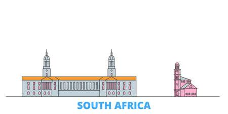 South Africa cityscape line vector. Travel flat city landmark, oultine illustration, line world icons