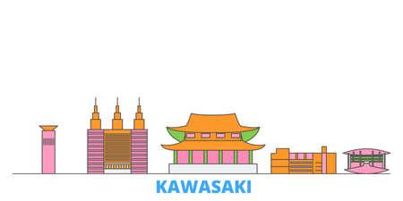 Japan, Kawasaki cityscape line vector. Travel flat city landmark, oultine illustration, line world icons