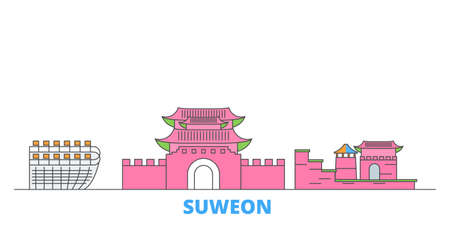 South Korea, Suweon cityscape line vector. Travel flat city landmark, oultine illustration, line world icons Иллюстрация
