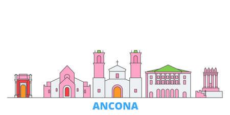 Italy, Ancona cityscape line vector. Travel flat city landmark, oultine illustration, line world icons