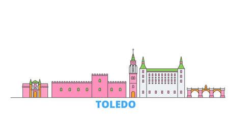 Spain, Toledo cityscape line vector. Travel flat city landmark, oultine illustration, line world icons 일러스트
