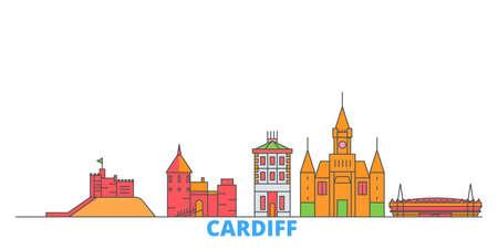 United Kingdom, Cardiff cityscape line vector. Travel flat city landmark, oultine illustration, line world icons Çizim