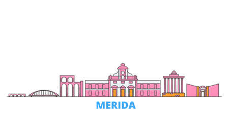 Spain, Merida cityscape line vector. Travel flat city landmark, oultine illustration, line world icons