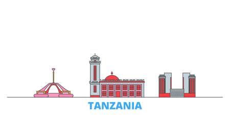 Tanzania cityscape line vector. Travel flat city landmark, oultine illustration, line world icons