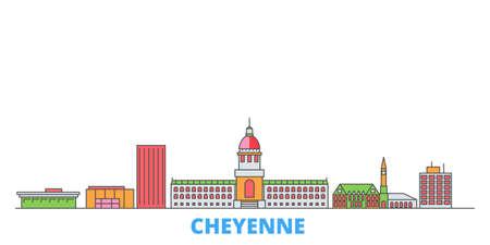 United States, Cheyenne cityscape line vector. Travel flat city landmark, oultine illustration, line world icons