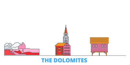 Italy, The Dolomites cityscape line vector. Travel flat city landmark, oultine illustration, line world icons