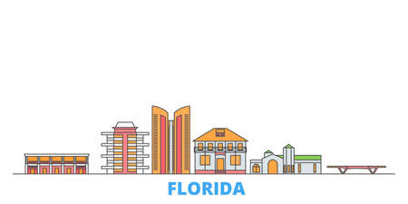 United States, Fort Lauderdale cityscape line vector. Travel flat city landmark, oultine illustration, line world icons