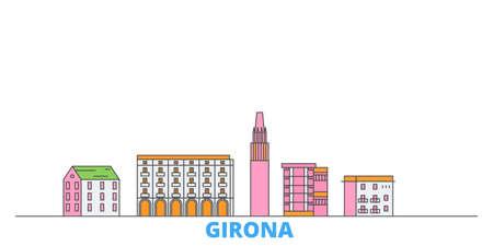Spain, Girona cityscape line vector. Travel flat city landmark, oultine illustration, line world icons Illusztráció