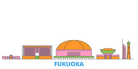 Japan, Fukuoka cityscape line vector. Travel flat city landmark, oultine illustration, line world icons