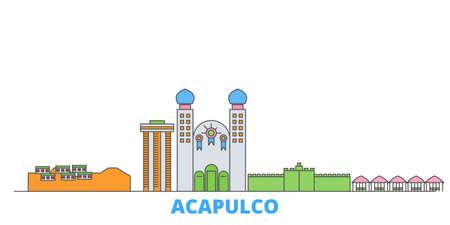 Mexico, Acapulco cityscape line vector. Travel flat city landmark, oultine illustration, line world icons 일러스트
