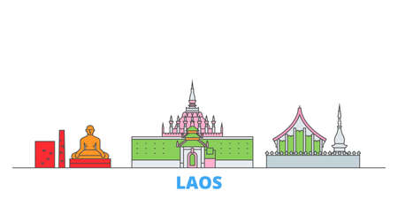 Laos cityscape line vector. Travel flat city landmark, oultine illustration, line world icons