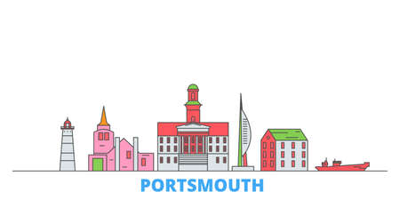 United Kingdom, Portsmouth cityscape line vector. Travel flat city landmark, oultine illustration, line world icons Иллюстрация