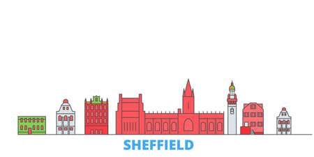 United Kingdom, Sheffield cityscape line vector. Travel flat city landmark, oultine illustration, line world icons