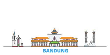 Indonesia, Bandung cityscape line vector. Travel flat city landmark, oultine illustration, line world icons