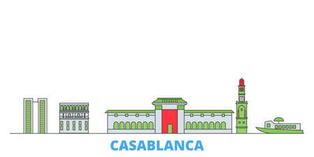 Morocco, Casablanca cityscape line vector. Travel flat city landmark, oultine illustration, line world icons