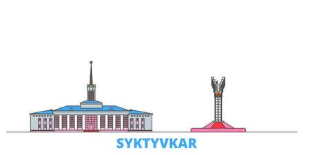 Russia, Syktyvkar cityscape line vector. Travel flat city landmark, oultine illustration, line world icons