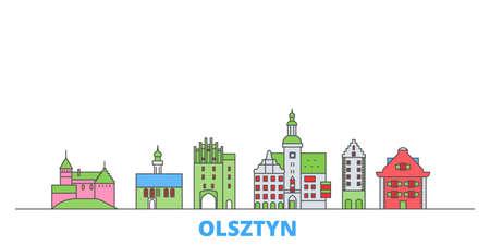 Poland, Olsztyn cityscape line vector. Travel flat city landmark, oultine illustration, line world icons Çizim